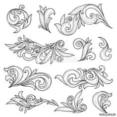 Wektor: Abstract swirls page ornaments, calligraphic design elements