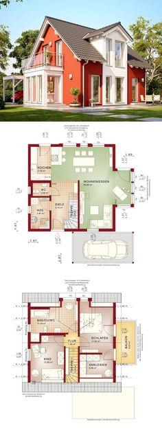 Einfamilienhaus Architektur mit Satteldach und Zwerchgiebel, Putz Fassade Farbe rot, Carport und Erker Anbau - Grundriss Fertighaus Solution 106 V2 Living Haus Ideen - HausbauDirekt.de