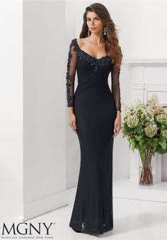 Evening Gown 71123 Stretch Mesh with Embroidered and Beaded Appliques