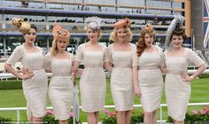 The Tootsie Rollers went for matching vintage chic at the races in their pastel dresses with fascinators and hats