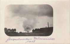 Histoire postale du Nord-Les losanges Chiffrés. Raid aérien sur Valenciennes 1915. Aucune information si elle est alliée ou allemande.