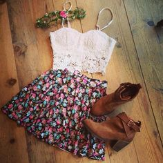 cute top with flowery skirt and brown leather boots very cute spring look