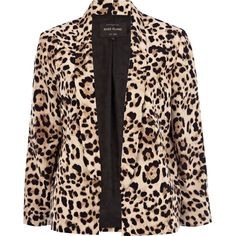 River Island Beige leopard print boxy blazer ($38) ❤ liked on Polyvore featuring outerwear, jackets, blazers, coats, casacos, collar jacket, leopard blazer, boxy jacket, beige jacket and river island
