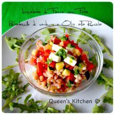 insalata di farro con feta ratatouille di verdure e olio alla rucola  - queenskitchen