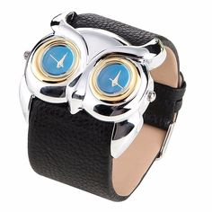 Tell the time in style with this cute Night Owl watch.With double quartz movement, this watch will complement any outfit and keep you on time! It is convenient to use two dial to check two countries'