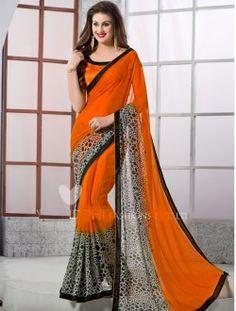 Daily Wear Orange Georgette Printed Saree