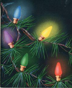 Vintage Christmas Card: Christmas Tree Lghts