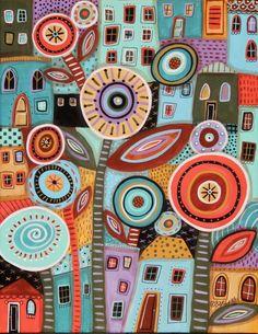 Flower Town ORIGINAL 11x14 inch CANVAS PAINTING Folk Art Houses Karla Gerard…