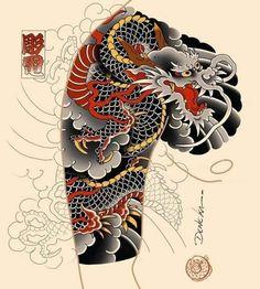 Japanese Tattoo Symbols, Japanese Dragon Tattoos, Traditional Japanese Tattoos, Japanese Tattoo Designs, Japanese Tattoo Art, Japanese Sleeve Tattoos, Japanese Art, Koi Dragon Tattoo, Dragon Sleeve Tattoos