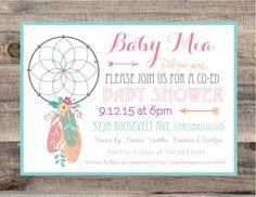 PRINTABLE - Boho Dreamcatcher Baby Shower Invite - Customizable - Dream Catcher - bohemian shower - coed shower by BordenSpecifics on Etsy https://www.etsy.com/listing/244889099/printable-boho-dreamcatcher-baby-shower