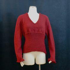 Red Sweater Size 10 Soft V neck Empire Waist by AllThingsTangled,