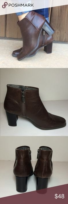 "Enzo Angiolini Booties Boots BROWN Gorgeous!!  Great condition. All leather. Man made sole. 1.5"" heel. The perfect staple item!  Size 6. No trades. Enzo Angiolini Shoes Ankle Boots & Booties"