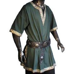 medieval clothing men tunic - Google Search Likely too rich for Ashley, but shape is good. This allows free movement. It makes sense for climate. I think it's his style, maybe tone down pattern, especially color of it, and make the green brown or black. Still need to look up which dyes were cheapest. The neckline is a problem for hiding his necklace, since it dips low. I can make necklace long. The blue tunic from earlier-I liked satchel, so maybe mix that into this one.