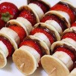 Strawberry Nutella Banana Pancake Kabobs!