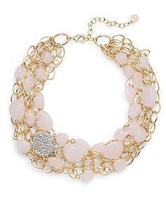 R. J. Graziano Beaded Multi-Chain Necklace - Blush - Size No Size