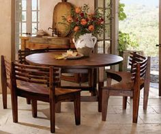 Decorating Round Dining Room Tables : Dining Sets With Benches Wooden Round Table Wooden Curves Benche