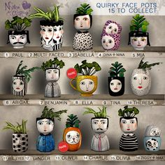 Second Life Marketplace - (NO) Quirky Face Pot - Benjamin Painted Plant Pots, Painted Flower Pots, Pottery Painting Designs, Pottery Designs, Bottle Art, Bottle Crafts, Crafts To Make, Diy Crafts, Paper Crafts