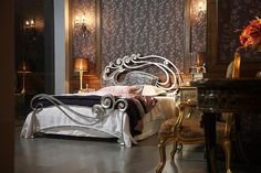 "Luxury bedroom. Love the bedframe! ""This bed is made of hand forged sheet metal and a tube metal, with artistic headboard... an example of luxury bedroom and furniture of the latest Phoenix beds from Stylish."