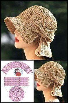 Easy Crochet Hat, Crochet Simple, Crochet Summer Hats, Bonnet Crochet, Crochet Beanie, Crochet Crafts, Crochet Projects, Free Crochet, Knitted Hats