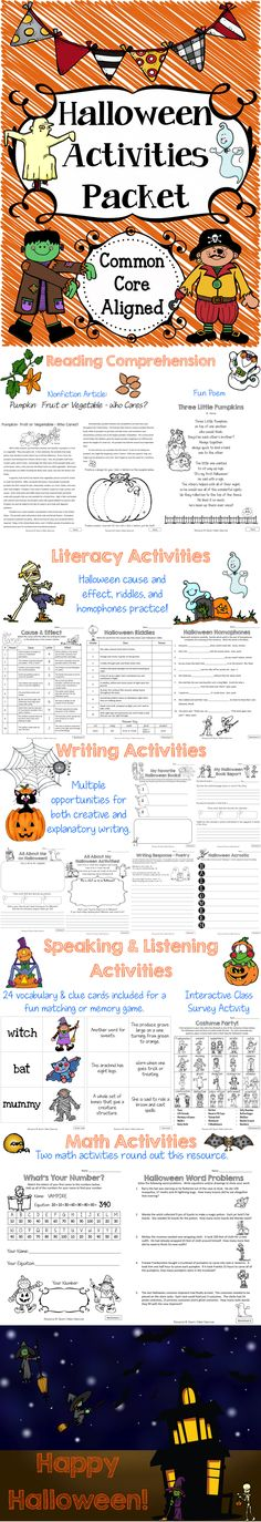 Halloween Activities Packet - This Halloween resource includes a variety of Halloween themed activities aligned with Common Core. $