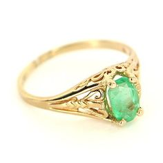Vintage 10 Karat Yellow Gold Natural Emerald Stack Band Ring Fine Jewelry Estate $295
