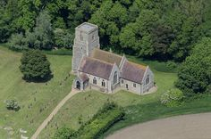 St Ethelbert church in Larling - Norfolk aerial image | by John D F