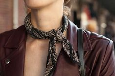 Trending: The Little Neck Scarf - Last spring the neck-ccessory du jour was a casually cool western bandana. It was spotted on runways, fashion bloggers, and real girls too. Worn fitted and knotted around the neck, so that the one of the four points is crisply centered, this accessible accent was seen layered over t-shirts and dresses, in an oversized variety for the off duty models on the go, and peeking out from underneath turtlenecks.