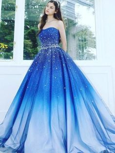 A Line Blue Strapless Sweetheart Ombre Sweep Train Ball Gown Beads Tulle Prom Dr. - A Line Blue Strapless Sweetheart Ombre Sweep Train Ball Gown Beads Tulle Prom Dresses uk – Source by - Cute Prom Dresses, Tulle Prom Dress, Beautiful Prom Dresses, Pretty Dresses, Elegant Dresses, Formal Dresses, Sexy Dresses, Flowy Dresses, 15 Dresses