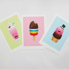 Kawaii Colorful Art Prints set of three, Lollipop Ice Cream Milkshake Children's Decor, Kids Art, Nursery prints, Baby Nursery print A4. £24.99, via Etsy.