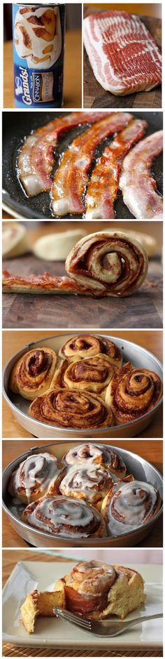 Bacon Cinnamon Rolls - Dear breakfast, you'll never be the same. The marriage of the sweet (albeit canned) cinnamon roll with a slice . Yummy Treats, Delicious Desserts, Dessert Recipes, Yummy Food, Bacon Recipes, Cooking Recipes, Bacon Cinnamon Rolls, Food Porn, Snacks Für Party