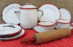 vintage white with red trim enamelware