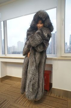 Long Hooded Silver Fox Fur Coat