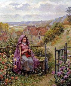 Daniel Ridgway Knight (American-born French genre painter, 1839-1924) In the Garden