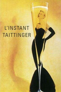 Professionally Framed L'Instant Taittinger (Grace Kelly Champagne Ad) Art Poster Print - with Solid Black Wood Frame by Poster Revolution Vintage French Posters, Pub Vintage, Poster Vintage, Vintage Artwork, French Vintage, French 75, Vintage Style, Vintage Colors, Fashion Vintage