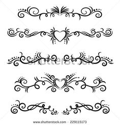 Calligraphic design elements and page decoration. Swirl and Heart shape pagination. Stencil Rosa, Rose Stencil, Chicano Lettering, Hand Lettering, Tummy Tuck Scar Tattoo, Swirl Nail Art, Stomach Tattoos Women, Abdomen Tattoo, Easy Flower Drawings