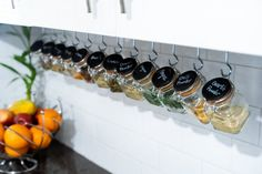 35 Practical Storage Ideas For A Small Kitchen Organization - The Trending House Hanging Spice Rack, Diy Spice Rack, Wall Spice Rack, Spice Rack With Hooks, Wooden Spice Rack, Spice Rack Above Stove, Best Spice Rack, Spice Rack Storage, Kitchen Organization