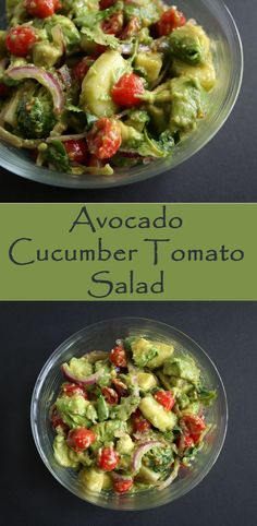 Avocado Cucumber Tomato Salad - this vegan salad is perfect for lunch or a party.