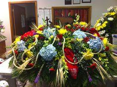 Western Themed flower arrangements | Western theme casket spray. | Casket sprays - Funeral Arrangements