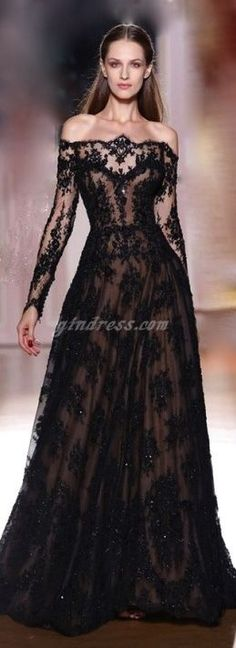 Cheap dress car, Buy Quality dress groom directly from China dress up wedding dresses Suppliers: 2014 New Design Sexy Zuhair Murad Off-The-Shoulder Sweep Train Long Sleeves Black Lace Prom Dresses Evening Dresses 160 Black Prom Dresses, Pretty Dresses, Short Dresses, Formal Dresses, Wedding Dress Black, Black Lace Gown, Gothic Wedding Dresses, Amazing Dresses, Black Weeding Dress