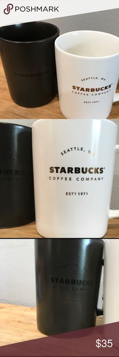 Dark Chocolate / White chocolate Starbucks Mugs 16 fl oz of pure joy in a cup. These mugs are ready to come to your home this fall/winter season. Get one for you and one for your bestie ... boyfriend ... girl friend or .. keep them both  The dark mug is more of a chocolate color and the light mug is a creamy white. No longer available in stores. starbucks Other