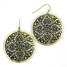 New Gold Burnished Floral Disk Earrings