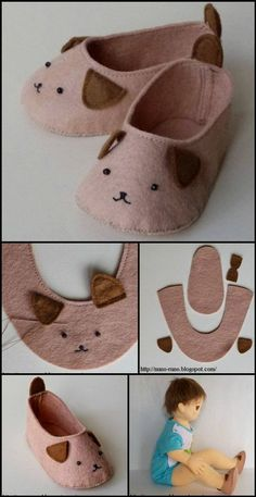 DIY Babyschuhe mit kostenlosen Anleitungen und Anleitungen – Babykleidung – Evelyn Simoneau DIY baby shoes with free patterns and instructions – baby clothes # Instructions clothes shoes Doll Shoe Patterns, Baby Shoes Pattern, Baby Patterns, Clothing Patterns, Kids Clothing, Sewing For Kids, Baby Sewing, Sewing Diy, Sewing Crafts