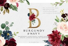 Burgundy & Navy Floral Graphic and Illustrations on Creative Market. Digital design goods for personal or commercial projects. Graphic design elements and resources.