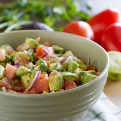 Avocado and Tomato Salad Recipe Salads with tomatoes, avocado, purple onion, chopped cilantro, lime, extra-virgin olive oil, salt