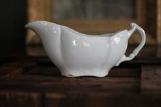 Vintage England White Gravy Boat by ThistleBlueTradingCo on Etsy
