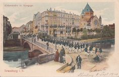 Strasbourg, France, postcard 1903. Shows synagogue (1898-1940) that stood on the quai Kléber next to the old railway station. It was destroyed by the Germans in 1940.