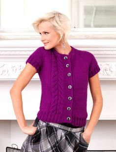 Free knitting pattern for short sleeved cardigan with cable detail - Topside Cardi - Designed by Vickie Howell, this cardigan features cable detail down one side and cap sleeves. Sweater Knitting Patterns, Knit Patterns, Free Knitting, Short Sleeve Cardigan, Knit Cardigan, Brown Cardigan, Cardigan Pattern, Long Cardigan, Knitting Supplies