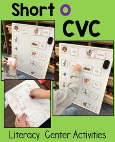 CVC word activities and worksheets - use for literacy centers, morning work, small group, intervention . Phonics Activities, Class Activities, Classroom Activities, Classroom Ideas, Literacy Stations, Literacy Centers, Kindergarten Literacy, Word Study, Word Work