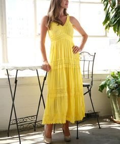Look at this Yellow Lace Eyelet V-Neck Midi Dress on #zulily today!