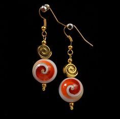 Conch Shell White Orange Glass Round Earrings. Dangle Earrings. Shell Earrings. Jewelry. Gift for Her.